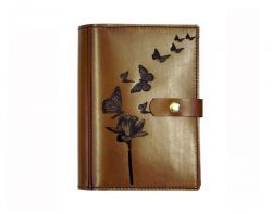 A4 Leather Diary Cover Butterflies