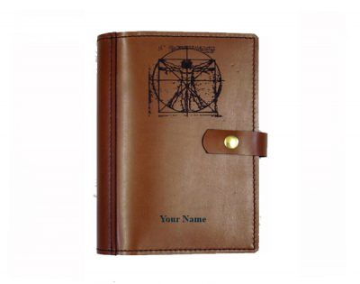 A4 leather diary cover Vitruvian man