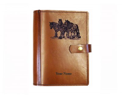 A4 leather diary cover draught horse