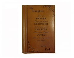 Free Shipping & Comes with A 200 page Hard Covered Journal Full Leather Cover YOU ARE BRAVER THAN YOU BELIEVE STRONGER THAN YOU SEEM SMARTER THAN YOU THINK LOVED MORE THAN YOU WILL EVER KNOW ! Journal Size 15. cm x 21.5 cm Fits the Bullet sized notebook Classy, Practical and Durable The designs are laser engraved onto the leather and won't rub off. Your cover is then sealed with several coats of leather sealer. This brings out the natural patina of the leather while also protecting it. When you buy an Underhide leather diary cover, log book cover, or any Underhide Leather product for that matter, you are buying an artisan product that I or one of my family have assembled.  We put time and care into every product we make ensuring that quality is our ultimate goal. We make your logbook cover, diary cover and wallet from start to finish and take pride in each item. Leather is a natural product, please allow for some markings and small nicks.  The colour may also vary to the photos. Your cover is especially made for you by us, so please allow up to 2 week delivery time. Proudly MADE IN AUSTRALIA  by Underhide Leather
